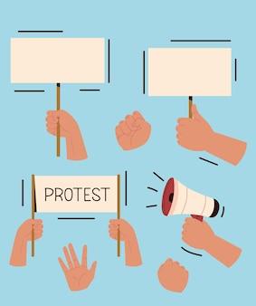Satz protesthände