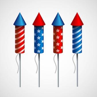 Satz pyrotechnische raketen. illustration
