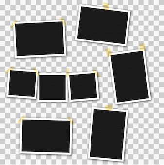 Satz quadratische fotorahmen auf klebeband, stifte