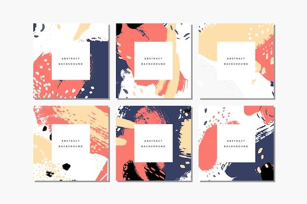 Satz quadratische hand gezeichnete abstrakte hintergründe mit künstlerischen pinselstrichen und farbflecken. social media post