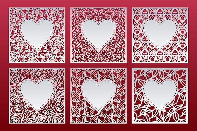 Satz quadratische tafelschablonen mit muster und herz innen, valentinskartenentwurf.