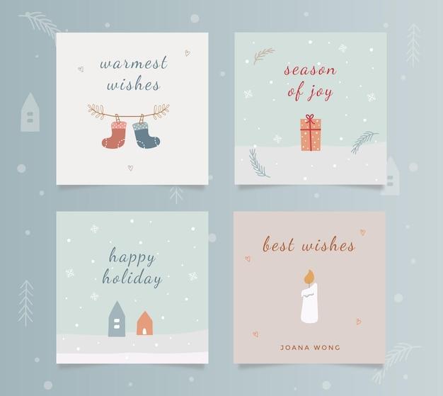 Satz quadratische winterurlaub-grußkarten mit blauer creme färbt handgezeichnete illustration.