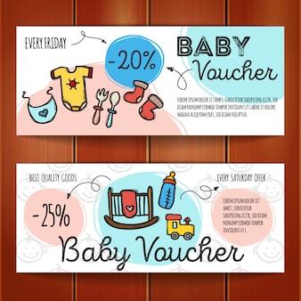 Satz rabattkupons für babywaren