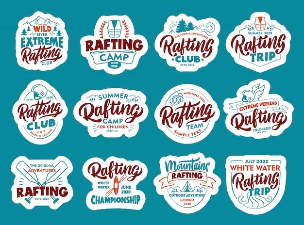Satz rafting-aufkleber, aufnäher. bunte abzeichen, embleme, briefmarken für den verein
