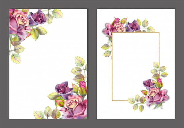 Satz rahmen mit aquarellblumen. dunkle rosen auf weiß