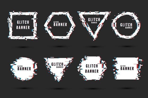 Satz rahmen und banner mit glitch-effekt