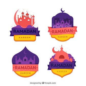 Satz ramadan-aufkleber mit moscheen in der flachen art
