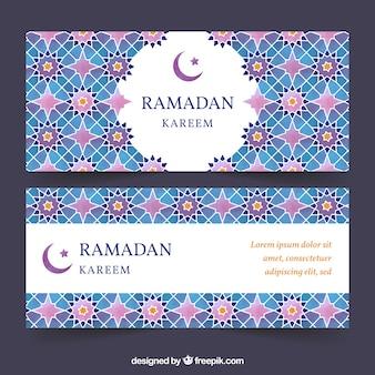 Satz ramadan-fahnen mit bunten mandalen