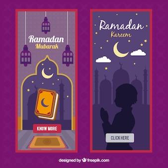 Satz ramadan-fahnen mit lampen und moschee
