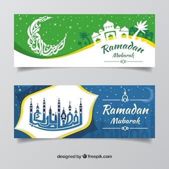 Satz ramadan-fahnen mit moscheen