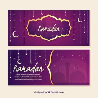 Satz ramadan-fahnen mit ornamentos