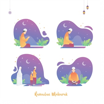 Satz ramadan islamische plakatentwurfsillustration, der heilige monat. moslemischer mann, der koran liest und zusammen betet.