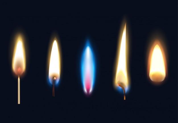 Satz realistische brennende flammen von streichholzkerzen und feuerzeug isolierte illustration