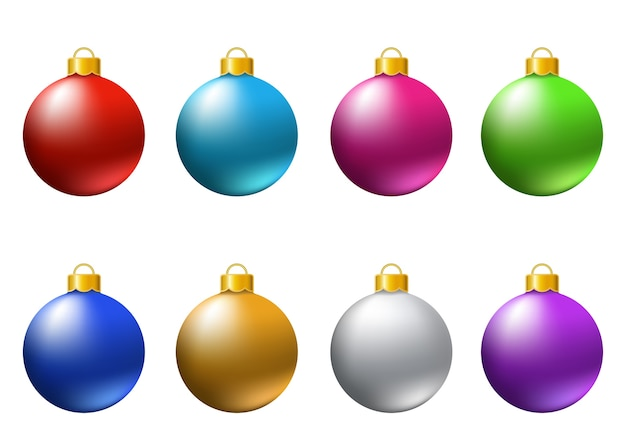 Satz realistische bunte weihnachtskugeln lokalisiert auf weißem hintergrund