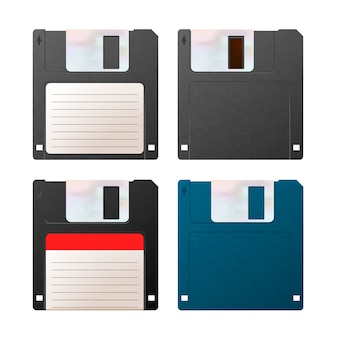 Satz realistische detaillierte disketten, vintage-objekte auf weiß