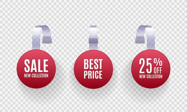 Satz realistische detaillierte rote wobbler-verkaufsförderungsetiketten auf einem transparenten hintergrund. rabattaufkleber, sonderangebot, plastikpreisbanner, etikett für ihre.