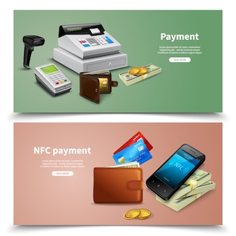Satz realistische finanzausrüstung der horizontalen fahnen mit geld- und nfc-zahlung