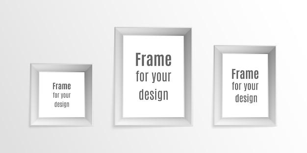 Satz realistische fotorahmen der weinlese lokalisiert auf transparentem hintergrund. fotorahmen layout design. perfekt für ihre präsentationen.