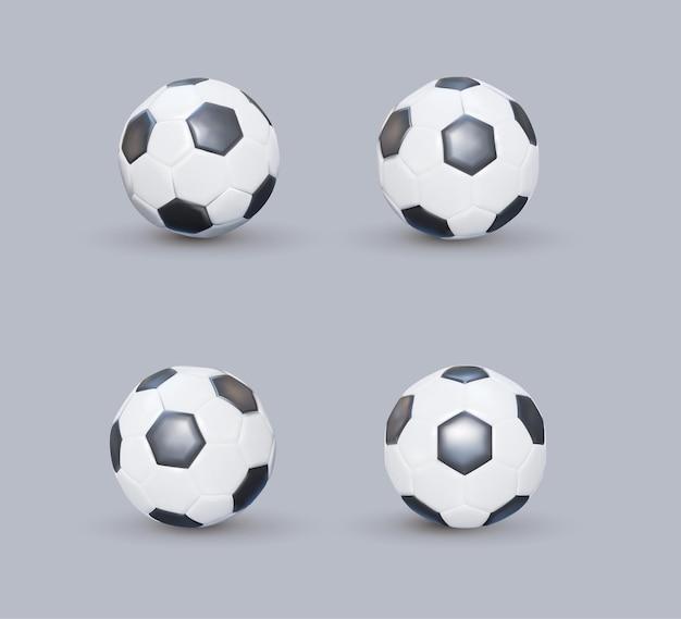 Satz realistische fußbälle oder fußballball auf weißem hintergrund. schwarz-weißer klassischer fußballball aus leder. vektor-kugel der art 3d lokalisiert auf weißem hintergrund.