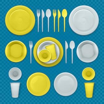 Satz realistische gelbe und weiße plastikschalen