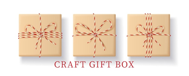 Satz realistische geschenkbox in bastelpapier.