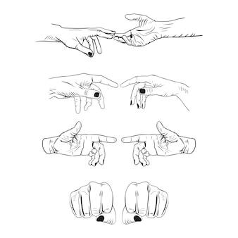 Satz realistische gesten handform. grafikdesign des schwarzen ley-strichlogos lokalisiert auf weiß.