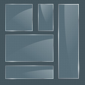 Satz realistische glatte quadratische glasrahmen des vektors
