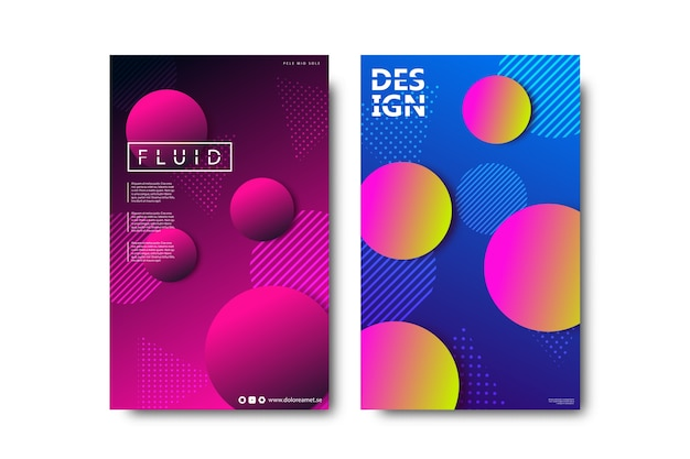 Satz realistische isolierte broschüre mit flüssigkeits- und lavalampenformdesign für dekoration und abdeckung auf dem weißen hintergrund.