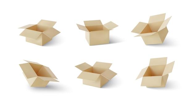 Satz realistische kartonbraune lieferboxen