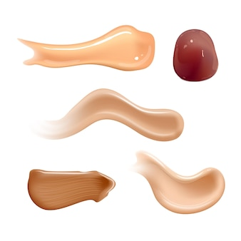 Satz realistische kosmetische cremeabstriche. hauttoner in verschiedenen körperfarben. lotion glatter abstrich auf weiß