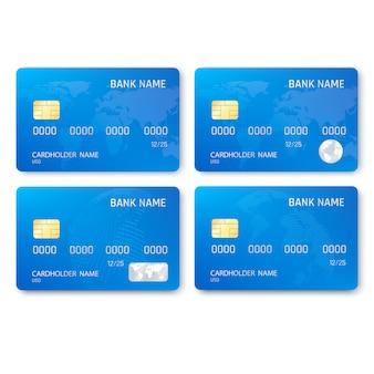 Satz realistische kreditkartenschablone