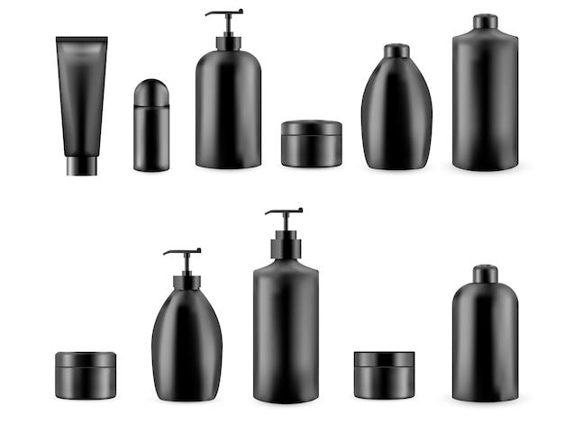 Satz realistische leere verpackung für kosmetisches produkt. sammlung der leeren schablone von plastikbehältern. flasche für flüssige hautpflegecreme.