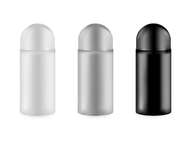 Satz realistische leere verpackung für luxuskosmetikprodukt. sammlung der leeren schablone von plastikbehältern. flasche für flüssige hautpflegecreme.