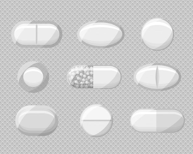 Satz realistische pillenblasen mit tabletten und kapseln.