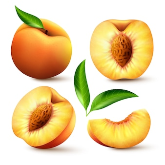 Satz realistische reife pfirsiche mit grünen blättern, ganz, halb und in scheiben. saftige süße früchte realistischer 3d-vektor mit hoher detailgenauigkeit auf weißem hintergrund. reife pfirsiche, ganz und in scheiben geschnitten. vektor-illustration.