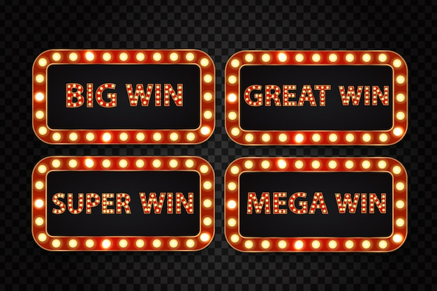 Satz realistische retro-neon-werbetafel für casino-gewinn mit leuchtenden lampen auf dem transparenten hintergrund. konzept des gewinners, der lotterie, des kasinos und der preisverleihung.