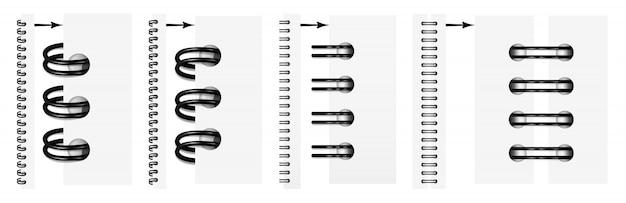 Satz realistische schwarze spiralen für ein notizbuch.