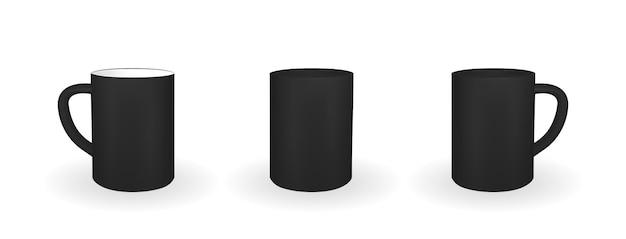 Satz realistische schwarze tasse auf einem weißen hintergrund