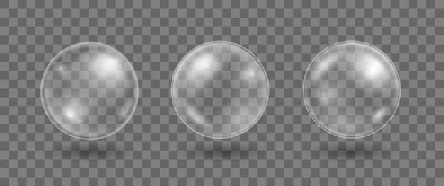 Satz realistische seifenblasen transparente wasserblasen