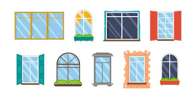Satz realistische transparente kunststofffenster aus glas mit fensterbänken