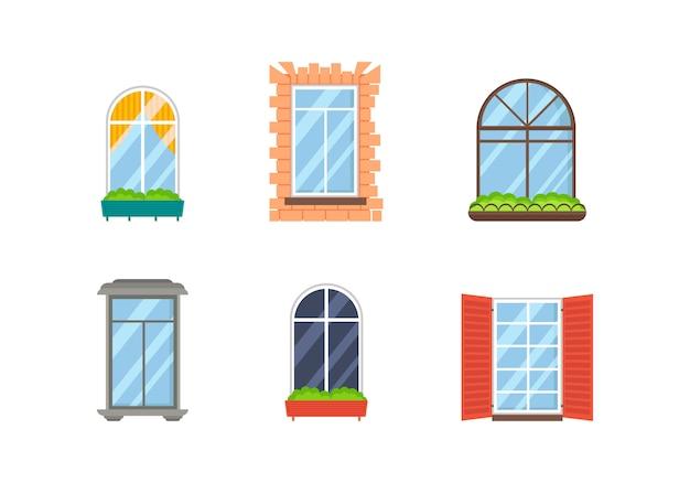 Satz realistische transparente plastikglasfenster mit fensterbänken. sammlung verschiedener arten von weißen fenstern für den innen- und außenbereich im flachen stil. architektonisches designgebäude.
