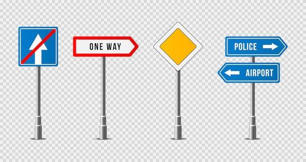 Satz realistische verkehrszeichen straßenschildsymbol