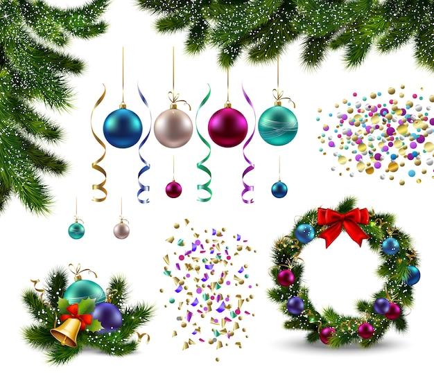 Satz realistische weihnachtsdekorationen tannenzweiggirlande mit kugeln und konfetti isoliert