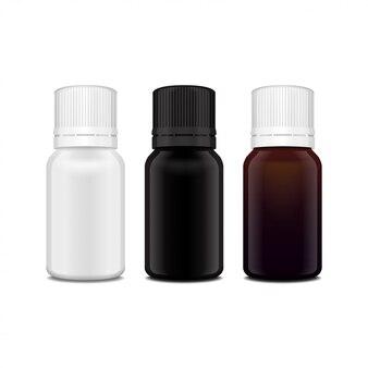 Satz realistische weiße, braune, schwarze glasflasche des ätherischen öls. flasche kosmetische oder medizinische fläschchen, flasche, flakon illustration