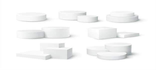 Satz realistische weiße leere produktpodest-szene lokalisiert auf weißem hintergrund