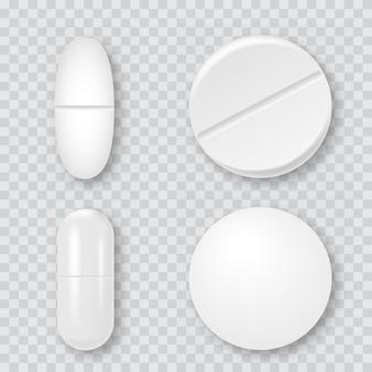 Satz realistische weiße medizinische pillen 3d, kapseln. vektor