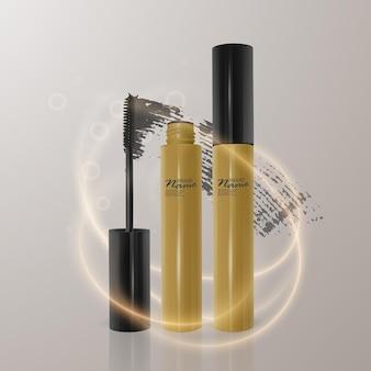 Satz realistische wimperntusche und pinselstrich, schönheit und kosmetische illustration. Premium Vektoren