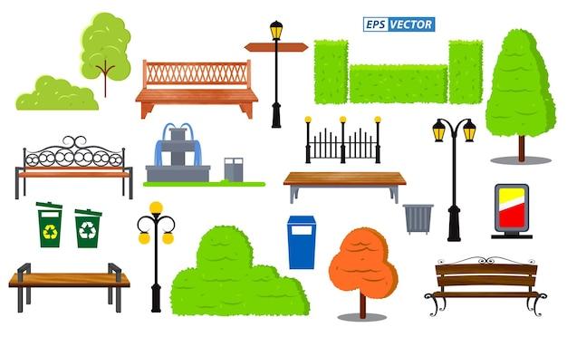 Satz realistischer bankholzgarten- oder straßenbanksitz- oder -bankkarikaturepsvektors