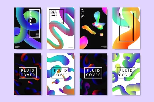 Satz realistischer broschüren mit flüssigen formen mit geometrischem farbverlauf zur dekoration und abdeckung auf dem hellen hintergrund.