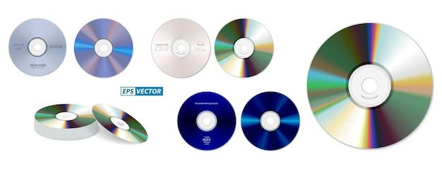 Satz realistischer dvd-hochgeschwindigkeits- oder cd-discs isoliert oder stapel von compact-discs realistische speicherdisc